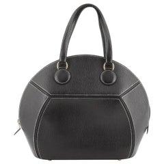 Hermes Black Leather Stitch Top Handle Satchel Bag