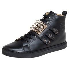 Hermés Black Leather Studded Lennox Sneakers Size 43.5