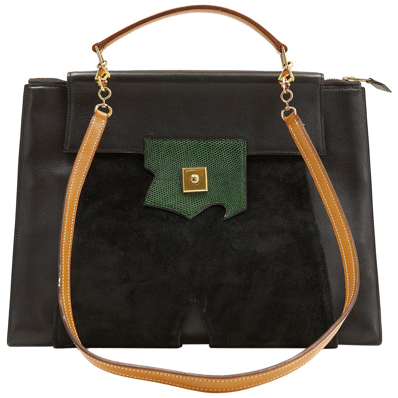 Hermès Black Leather, Suede and Lizard Brief Case