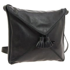 Hermes Black Leather Tassel Small Mini Carryall Shoulder Bag