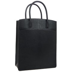 Hermes Black Leather Top Handle Satchel Carryall Travel Tote Bag