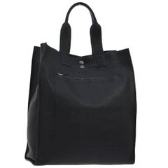 Hermes Black Leather Top Handle Satchel Travel Carryall Tote Bag