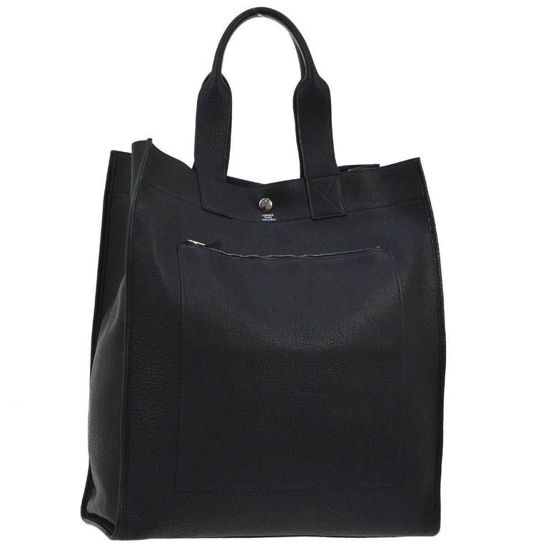 Hermes Black Leather Top Handle Satchel Travel Carryall Tote Bag