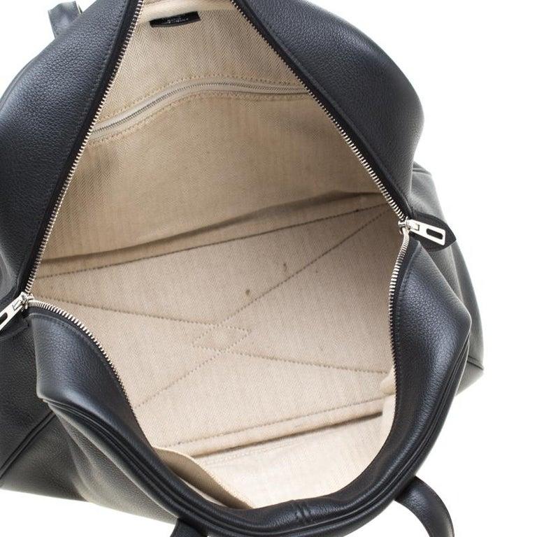 Hermes Black Leather Victoria II Fourre Tout 35 Bag For Sale 6