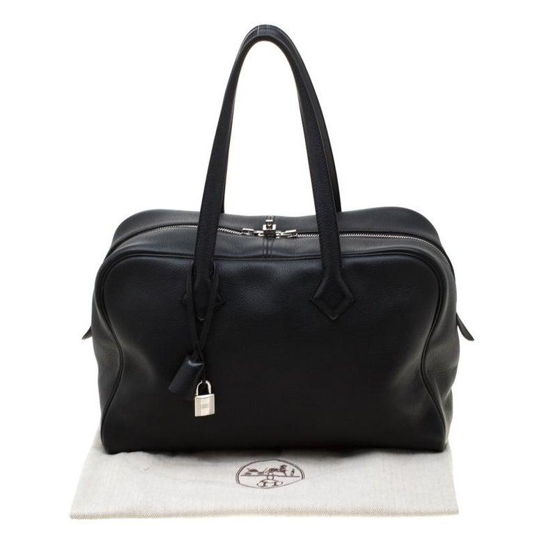 Hermes Black Leather Victoria II Fourre Tout 35 Bag For Sale 8