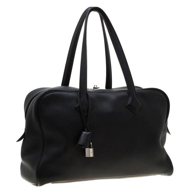 Women's Hermes Black Leather Victoria II Fourre Tout 35 Bag For Sale