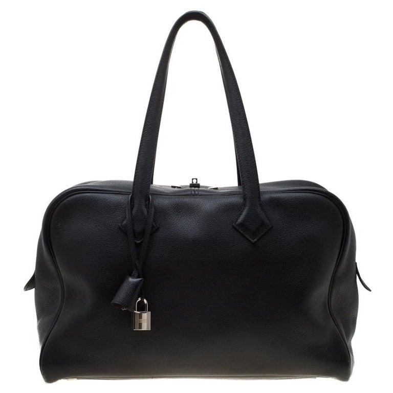 Hermes Black Leather Victoria II Fourre Tout 35 Bag For Sale