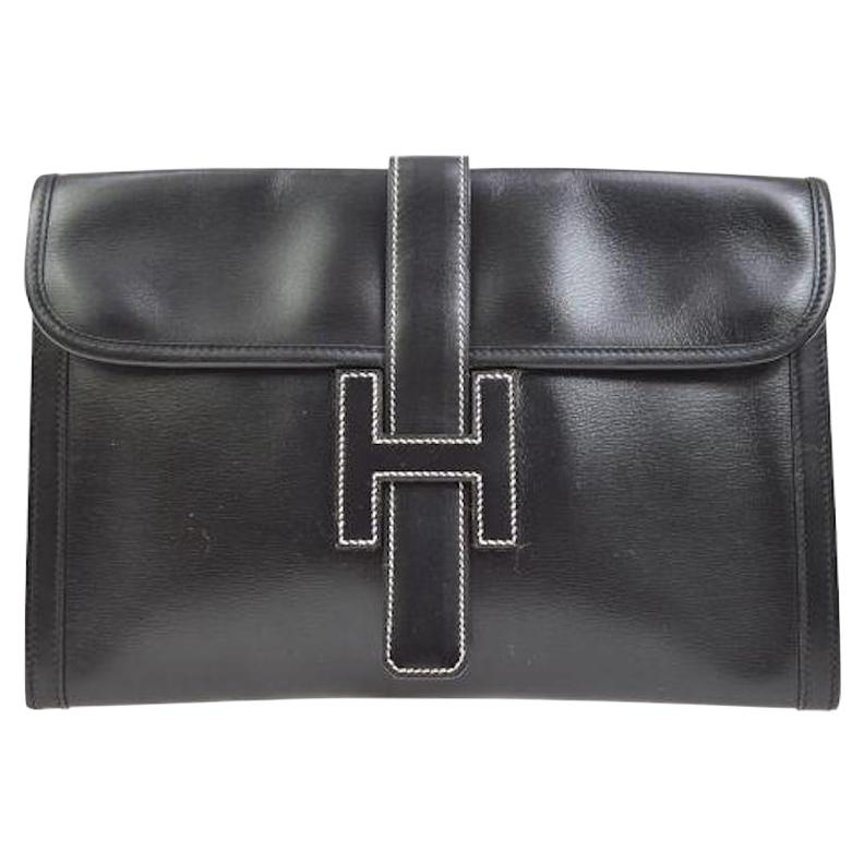 Hermes Black Leather White Stitch 'H' Logo Envelope Evening Clutch Bag in Box
