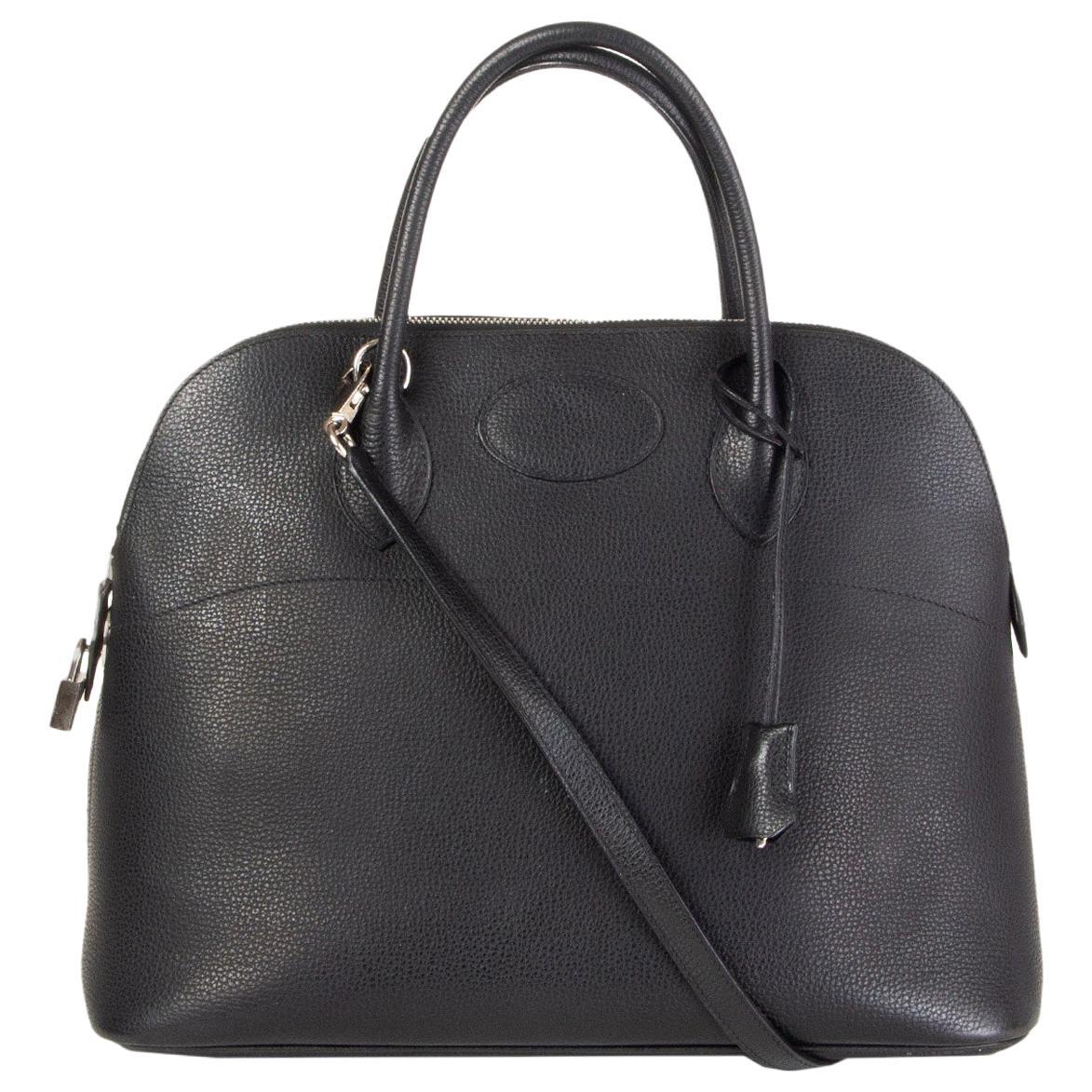 HERMES black Liegee leather BOLIDE 35 Bag