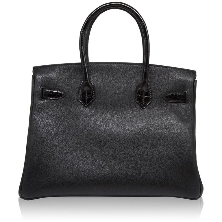Hermès Black Lisse Crocodile 30cm SAC Birkin Bag In Excellent Condition For Sale In London, GB
