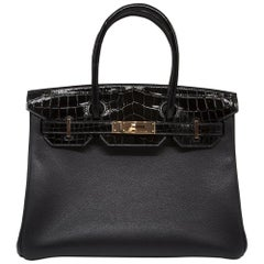 Hermès Black Lisse Crocodile 30cm SAC Birkin Bag