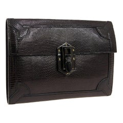Hermes Black Lizard Exotic Leather Envelope Evening Clutch Bag in Box