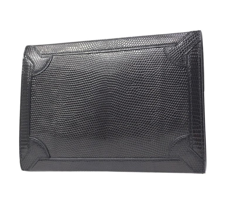 Women's Hermes Black Lizard Exotic Leather Gold Evening Clutch Flap Bag in Box For Sale