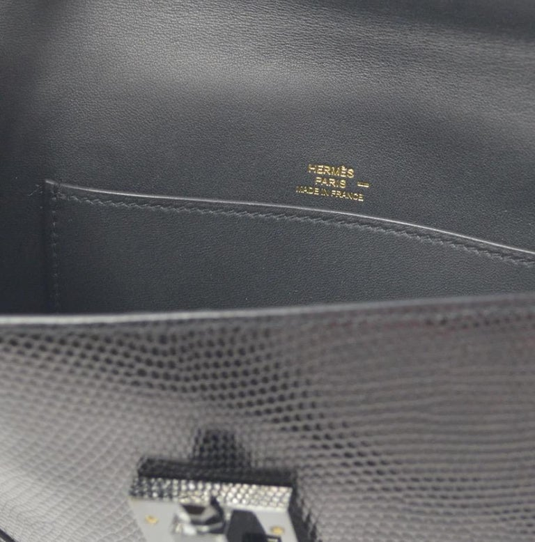 Hermes Black Lizard Exotic Leather Gold Evening Clutch Flap Bag in Box For Sale 1