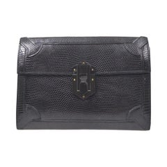 Hermes Black Lizard Exotic Leather Gold Evening Clutch Flap Bag in Box