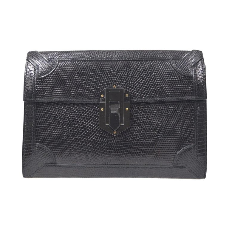 Hermes Black Lizard Exotic Leather Gold Evening Clutch Flap Bag in Box For Sale