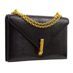 Hermes Black Lizard Exotic Leather Gold Small Evening Shoulder Flap Bag in Box