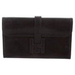Hermes Black Lizard Exotic Leather 'H' Logo  Evening Wallet Clutch Flap Bag