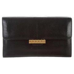 Hermes Black Lizard Exotic Skin Leather Gold Evening Envelope Clutch Flap Bag