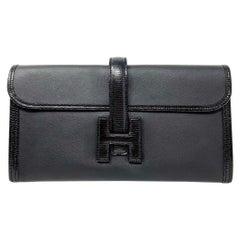Hermès Black Lizard & Swift Jige Clutch Bag,2019