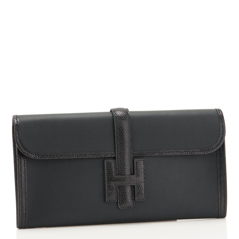 Hermes Black Lizard Swift Jige Elan 29cm Clutch Bag  In New Condition For Sale In New York, NY