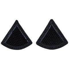 Hermes Black Lizard Triangle Earrings