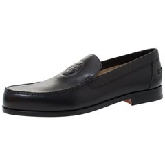 Hermes Black Logo Embossed Leather Slip On Loafers Size 41.5
