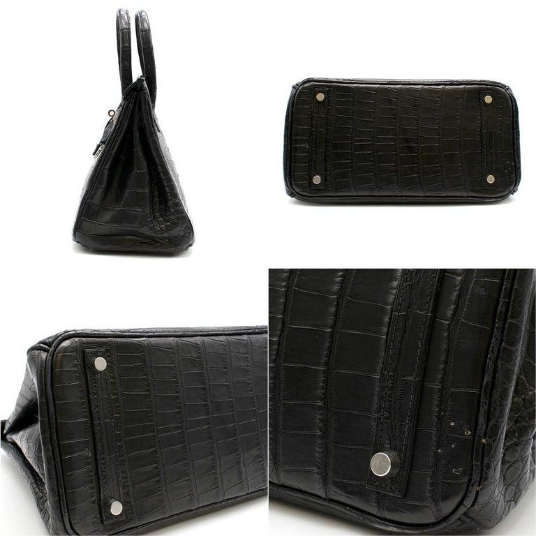 Hermes Black Matte Mississippiensis Alligator 30cm Birkin  For Sale 1