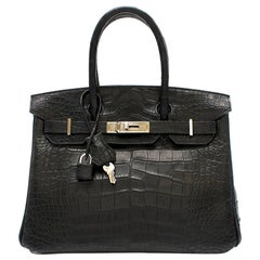 Hermes Black Matte Mississippiensis Alligator 30cm Birkin