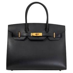 HERMES black Monsieur leather BIRKIN 30 SELLIER Tote Bag w Gold Hardware