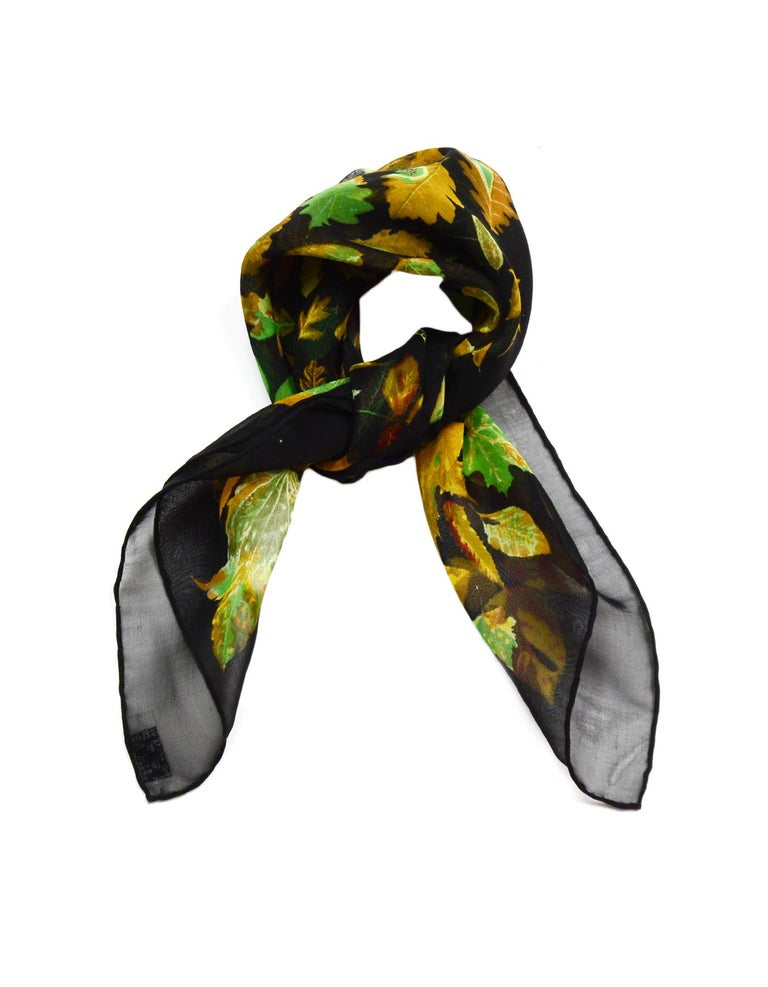 Hermes Black/Multi-Color Autumn Leaf Print 45 CM Silk Mousseline Pocket Square Scarf W/ Box  Made In:  France Color: Black/multi-color Materials: 100% silk Overall Condition: Excellent pre-owned condition  Estimated Retail: $175 + tax  Includes:
