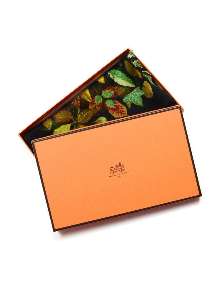 Hermes Black/Multi-Color Autumn Leaf Print 45 CM Silk Pocket Square Scarf For Sale 1