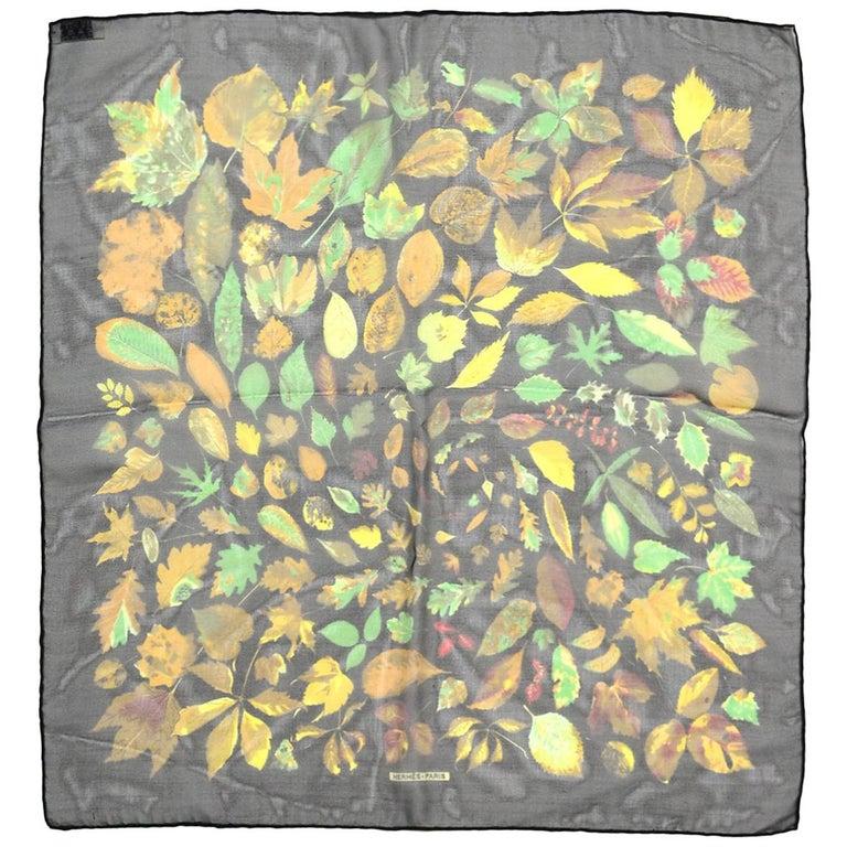 Hermes Black/Multi-Color Autumn Leaf Print 45 CM Silk Pocket Square Scarf For Sale