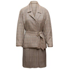 Hermes Black & Multicolor Glen Check & Houndstooth Skirt Suit