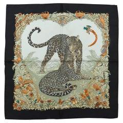 Hermes Black & Multicolor Jaguar Print Scarf