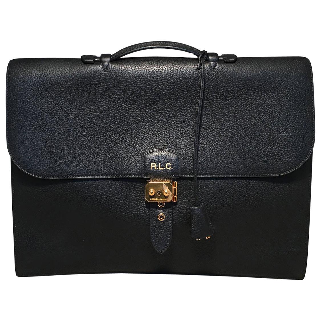 Hermes Black Noir Togo Sac A Depeches 41 Briefcase