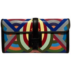 Hermes Black Painted Swift Leather Jige 28 Clutch