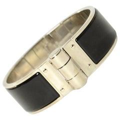Hermes Black/Palladium Enamel Charniere Uni Wide Hinged Bracelet sz S rt. $650