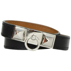 Hermes Black/Palladium Rivale Double Tour Wrap Bracelet sz Small