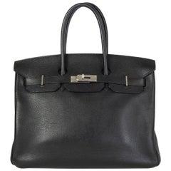 HERMES black & Palladium TREKKING leather BIRKIN 35 Tote Bag