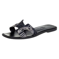 Hermes Black Printed Canvas Oran Sandals Size 37
