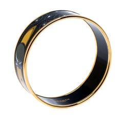 Hermes Black Printed Enamel Gold Plated Wide Bangle Bracelet