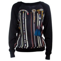 Hermes Black Printed Silk Paneled Cashmere Sweater S