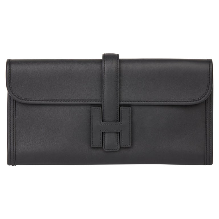 Hermès Black Quilted Swift Leather Jige Elan 29  For Sale
