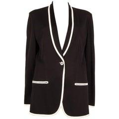 HERMES black rayon WHITE TRIMMED SHAWL COLLAR Blazer Jacket 40 M
