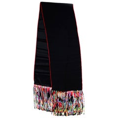 Hermes Black/Red/Multicolor La Danse Du Cheval Marwari Silk Fringe Stole W/ Box