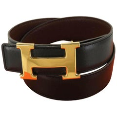 Hermès Black Reversible H Logo Kit 870256 Belt
