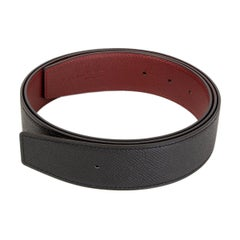 HERMES black & Rouge H burgundy Reversible Belt Strap 115