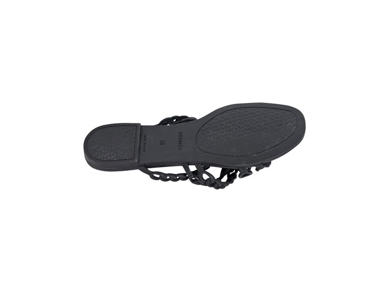 Hermes Black Rubber Chaine d'Ancre Sandals For Sale 1