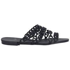 Hermes Black Rubber Chaine d'Ancre Sandals
